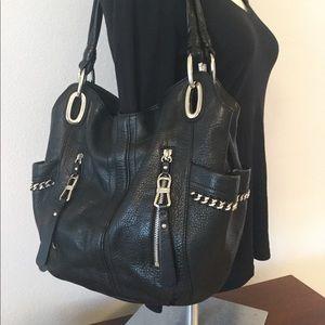 🆕 B. Makowsky Leather HoBo Shoulder Bag Black